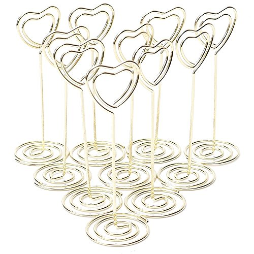 WSERE 10 Pcs Heart Shaped Table Place Card Photo Holders Pictures Number Name Display Stand Memo Clips for Wedding Party Gatherings Decor, Gold