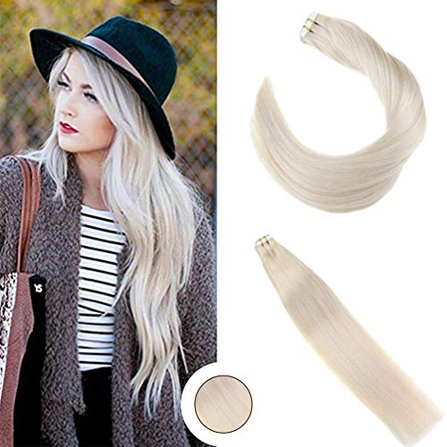 (Ugeat 14 inch Tape in Remy Hair Extensions Skin Weft Real Hair Extensions White Blonde Human Hair Seamless Tape on Extensions 40pcs/100g)