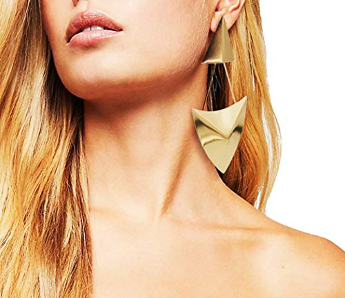 Ms.Mara Trendy Long Geometric Gold Statement Modern Triangle Dangle Drop Earring for Women Costume Jewelry (Gold)