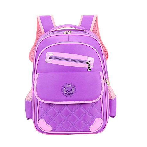 bdb5a0ceaa Uniui Primary School Bag Purple Backpack for 6-12 years old Girls Boys  Waterproof Nylon Schoolbag Kids Rucksack Children Travel Bag Students Book  Bag (Small ...
