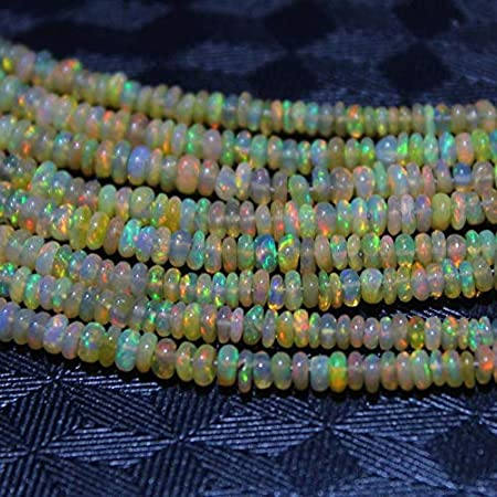8 Natural Ethiopian Welo Fire Opal and Crystal 2mm-4mm Rondelle Beads Sterling Silver Rondelle Beaded Bracelet UC001