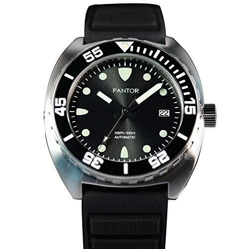Pantor Sealion 300m Pro Dive Automatic Watch with Helium Valve Black Dail Sapphire Stainless Steel Rotating bezel rubber strap