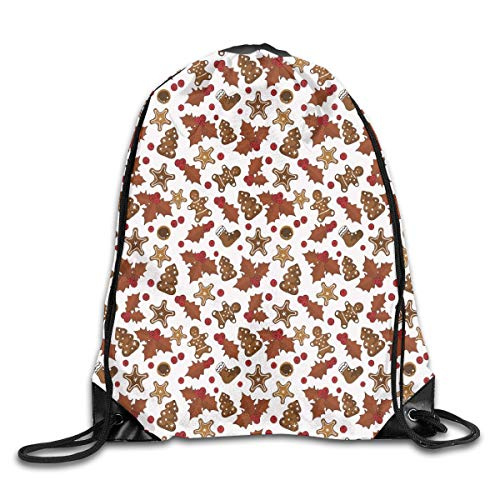 2019 Funny Drawstring Backpacks Bags Daypacks,Holly Berries Gingerbread Man Cookies Cartoon Style Winter Season Holiday,Adjustable For Sport Gym Traveling -