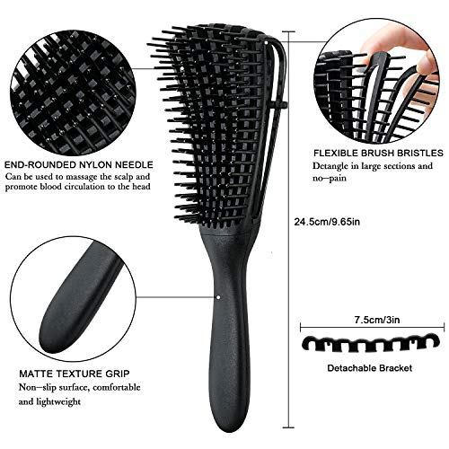 3 Pieces Detangling Brush Hair Detangler Brush for Hair Textured 3a to 4c Kinky Wavy/Natural Curly/Coily/Wet/Dry/Oil/Thick/Long Hair, Knots Detangler (Creamy-White, Black and Green)