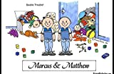 Personalized Friendly Folks Cartoon Side Slide Frame Gift: Twin Brothers Great for room décor