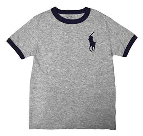 (Polo Ralph Lauren Boys 100% Cotton Ringer Big Pony Tee Shirt T-Shirt Heather Grey Navy Blue (Small)