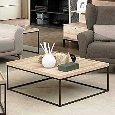 Adam and Illy VAL1680 Valentin Coffee Table, Iconic Oak - VALENTIN Coffee Table elevates your living room with a contemporary and dapper design adding the slight industrial look of the metal legs. Made in Europe Raised sides and clean lined silhouette is finished in iconic oak color with wire brushing effect and rich woodgrain veneers on a dark brown metal frame. - living-room-furniture, living-room, coffee-tables - 51csdPY8S5L. SS400  -