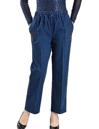 89da544caab528 IDEALSANXUN Women's Casual Elastic Waist Loose Jeans (X-Small, 3 Blue (No