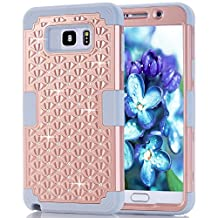 Samsung Galaxy Note 5 Case, NOKEA Diamond Hybrid Heavy Duty Shockproof Full-Body Protective Ultra Slim Bumper Cover 3 in 1 Shield Soft TPU Hard PC Dual Layer Impact Protection (RoseGold Grey)