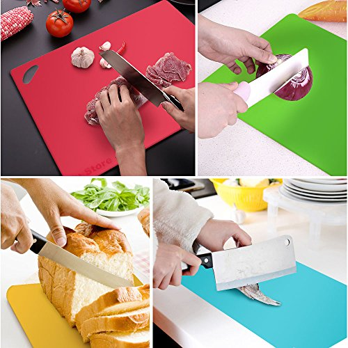 Fu Store Extra Thick Flexible Plastic Kitchen Cutting Board Mats Set, Set of 4 Colored Mats with Food Icons & Easy-Grip Handles, BPA-Free & FDA Approved, Non-Porous by Fu Store (Image #7)'