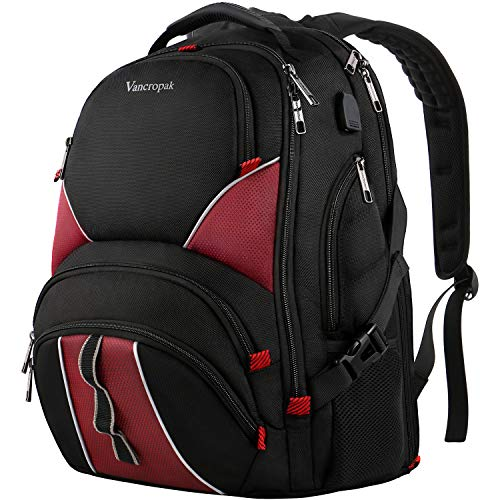 Travel Laptop Backpack, TSA Friendly Durable Extra Large Backpacks for Men and Women with USB Charging Port, Big Water Resistant College School Bookbag Fit 17 Inch Laptops & Notebook - Black & Red (Durable Lock Notebook)