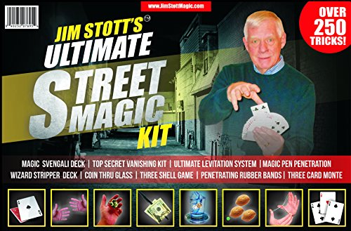 Jim Stott's 'Ultimate Street Magic Kit' Magic Set Featuring a Svengali Deck, Stripper Deck, Vanishing Kit, Magic Rubber Bands, 3 Shell Game, Levitation System, Videos and More! (Kit Kids Magic)