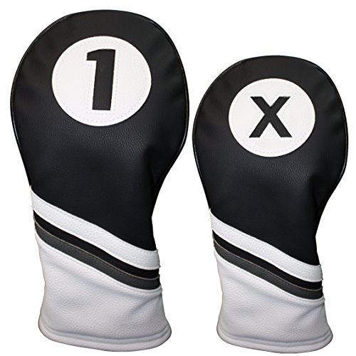 Golf Headcovers Black and White Leather Style 1 & X Driver and Fairway Head Cover Fits 460cc Drivers