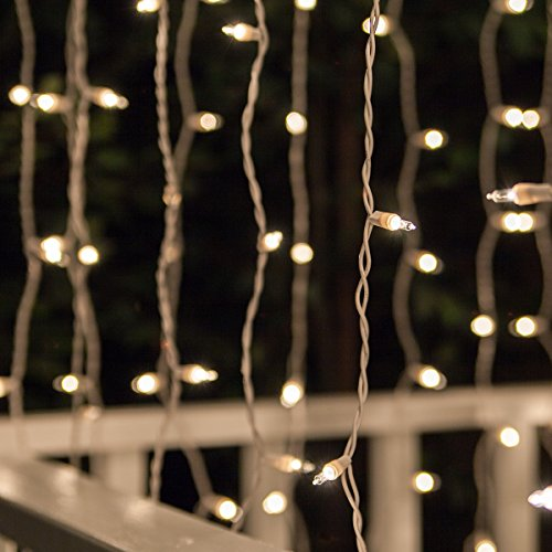 Icicle 150 Light String - Curtain Lights, Incandescent String Lights Curtain for Bedroom, Indoor/Outdoor Curtain Christmas Lights, Curtain Icicle Lights (150 Lights, 6 Ft Total Length, 65