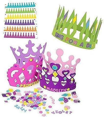 Amazon.com: 12 kits de tiara de espuma para princesa ...