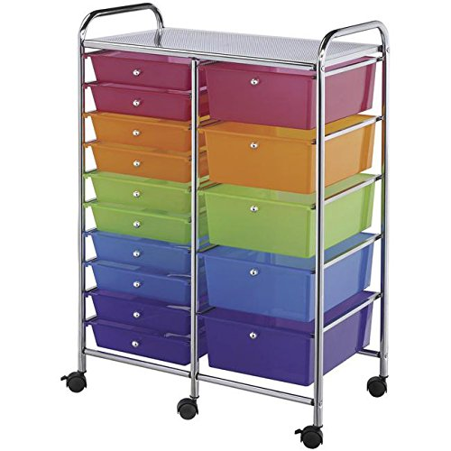 Double Storage Multicolor 15-drawer Cart Scrapbooking Storage by Generic