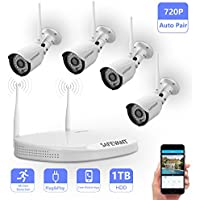 Wireless Security Camera System,Safevant Full-HD 720P 4CH Video Security System with 4pcs 1MP Wireless Weatherproof Bullet Cameras,65ft Night Vision,1TB HDD Pre-installed ,Auto-Pair,Plug& Play