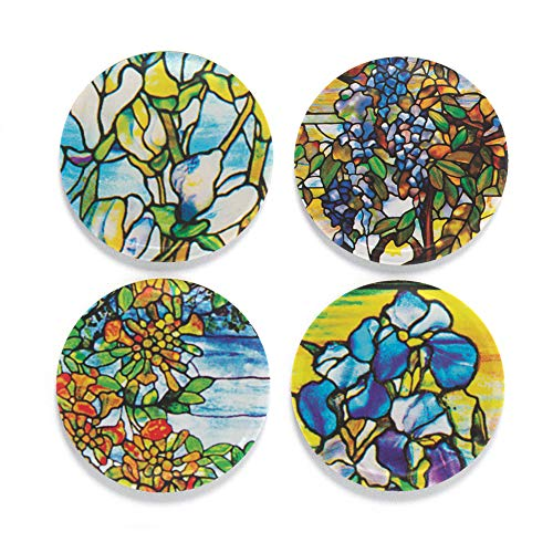 Buttonsmith Tiffany Magnola Magnet Set – Set of 4 1.25″ Magnets – Made in the USA