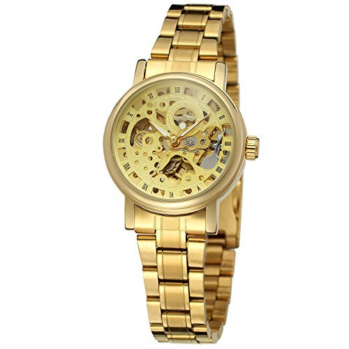 Forsining Women's Stylish Automatic Self-wind Skeleton Analog Stainless Steel Bracelet Watch (17 Jewel Manual Wind)