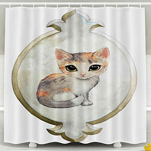 Asdecmoly Eco-Friendly Shower Curtain, Hooks Waterproof Bathroom Shower Curtains 78X72 inches Adorable Calico Big Green Cat Eyes in Painted Watercolor Elegant Vintage Plaque Fancy Fleur De an lis