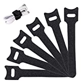 Cable Management Straps Ties -20 PCS Strong & Reusable Fastening Adjustable Strap Fastener,Microfiber Cloth 6-Inch Cable Strap Hook and Loop Cord Ties, Black.