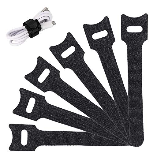 Reusable Cable Ties Management Straps -(20 Piece) 6 Inch Strong &Microfiber fastening cloth, Adjustable Fastener Cable Strap Hook and Loop Cord Ties, Black.