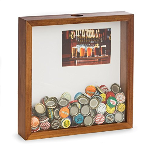 (Beer Bottle Cap Wooden Shadow Box with Photo Insert Matte Designed to Hold a 4 x 6)
