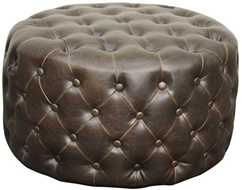 (New Pacific Direct Lulu Round Bonded Leather Tufted Ottoman,Vintage Dark Brown,Fully Assembled)
