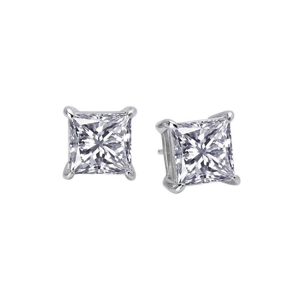 Lafonn Classic Sterling Silver Platinum Plated Lassire Simulated Diamond Earrings (6 CTTW)