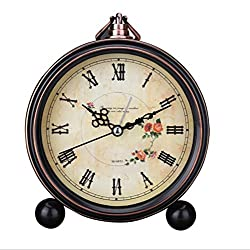 Classic Retro Antique Design European Style Decorative Alarm Clock Quartz Movement Battery Operated Analog Large Numerals Bedside Table Desk Alarm Clock, HD Glass Cover, Easy to Read(Roman,Flower)