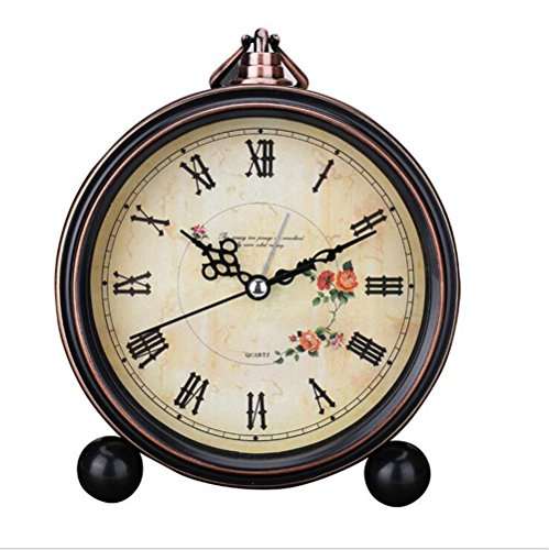 - Classic Retro Antique Design European Style Decorative Alarm Clock Quartz Movement Battery Operated Analog Large Numerals Bedside Table Desk Alarm Clock, HD Glass Cover, Easy to Read(Roman,Flower)