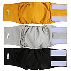 wegreeco Washable Male Dog Belly Wrap – Pack of 3 – (Gold,Black,Grey,Medium)