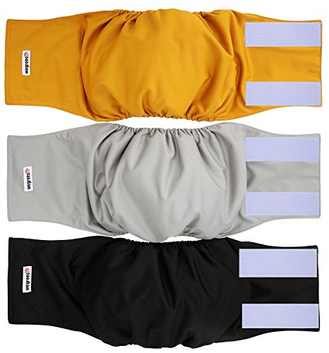 wegreeco Washable Male Dog Belly Wrap - Pack of 3 - (Gold,Black,Grey,Medium)