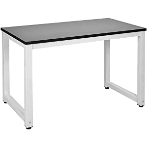 LIFE CARVER Modern Simple Style Computer PC Laptop Desk Study Table Workstation Home Office Writing Table for Small Space Place, (Black)