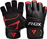 RDX Weight Lifting Gloves for Gym Workout - Cowhide Leather, Long Wrist Support with Anti Slip Palm Protection - Great Grip for Fitness, Bodybuilding, Powerlifting, Strength Training & Exercise