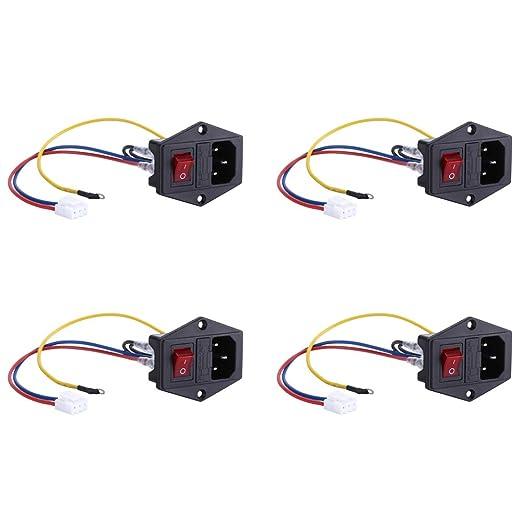 4 unidades de 10 A 250 V AC Socket Switch 3 Pin IEC320 C14 ...