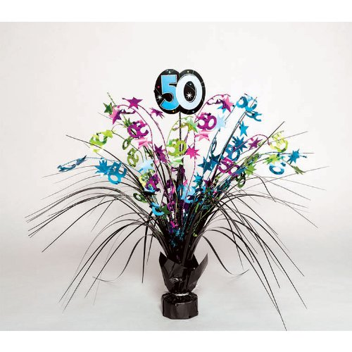 50 Centerpiece Spray (The Party Continuous 50th Birthday Party Spray Table Centerpiece Decoration, Multi , 15