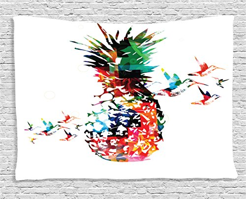 Ambesonne Pineapple Tapestry, Geometric Pineapple Bursting into Scattering Birds Flight Modern Abstract Print, Wall Hanging for Bedroom Living Room Dorm, 60 W X 40 L inches, (Flight Tapestry Wall)