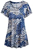 Ouncuty Womens Short Sleeve Floral Printed Tunic Tops Round Neck Casual Shirts