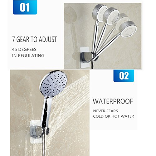 Shower Bracket Head Hose Holder With Hook Fixed Handheld Showerheads aluminum with plastic Suction Adjustable Wall Mount Adhesive Stick Patch Tub Attachment Bathroom Accessories Replacement Chrome