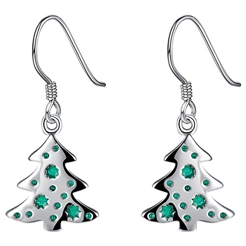 FENDINA Womens Christmas Gift 925 Sterling Silver Plated Merry Christmas Tree Hoop Earrings Dangle Drop Style Santa Jewelry Gifts for Girls