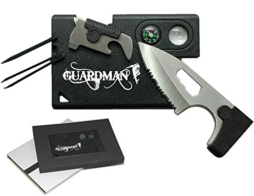 Guardman Credit Card Knife Tool 10 in 1 Camping Knife Credit Card Survivel Tool Valentines Day Gifts for Him
