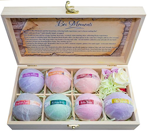 Bei Momenti Bath Bombs a Great Year Round Gift 7 Large Bath Fizzies + Bonus Soaps in Wooden Gift Box - Handmade Organic Luscious Spa Bombs with Aromatherapy Scents - Great Gift for Women, Mom, Teens