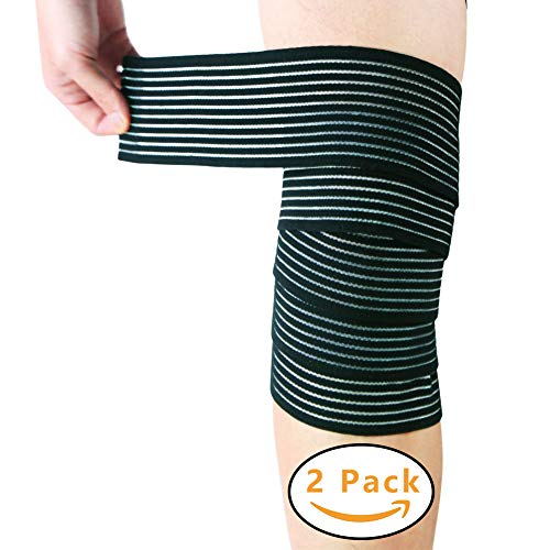 2PCS Black Elastic Breathable Knee Compression Bandage Wraps Ankle Support Brace, Gym Workout, Fitness & Power Lifting (Large 78'')