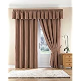 Thermal Velour Velvet Curtains Finished In Camel 90 Wide x 90 Drop by The Textile House