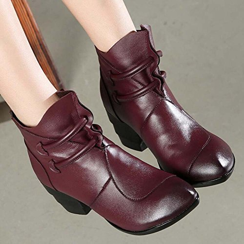 Round Purple Eu 35 Boots Stitching Toe Martin 6cm Size Zipper Chunkly Casual Women Dress Heel Retro Buckle Shoes Boots Mother 40 Court Comforty Shoes Chinese AqSPt