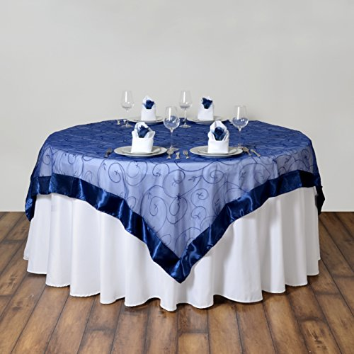 BalsaCircle 85x85-Inch Navy Blue Embroidered Sheer Organza Table Overlays - Wedding Reception Party Table Linens Decorations