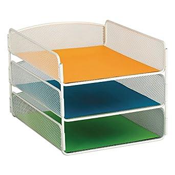 Safco - Bandeja de escritorio, tres niveles, malla de acero, carta, blanco: Amazon.es: Amazon.es