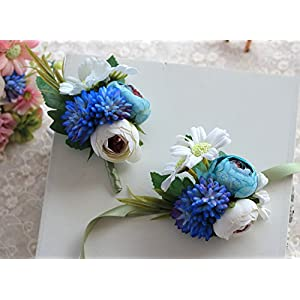 Silk Flower Boutonniere Corsage Set Artificial Groom Flowers Brooch for Wedding Prom Party Decoration, Blue 91