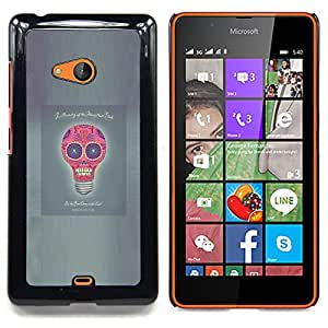 - Idea Skull Funny Poster Light Bulb Grey - - Snap-On Rugged Hard Cover Case Funny HouseFOR Microsoft Nokia Lumia 540 N540